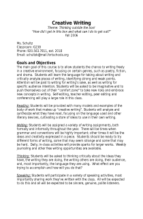 Creative Writing Syllabus