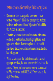 30 question Jeopardy template in Powerpoint