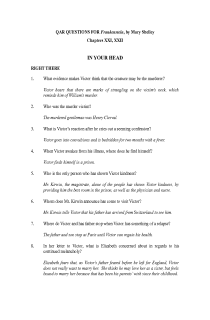 QAR Questions for Mary Shelley's Frankenstein, Chapters XXI, XXII