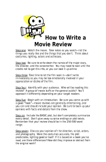how to write a movie report How do you write a paper on comparing a movie with the book what principles of the belmont report were violated in the i'm writing a grade 12.