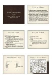 Elizabethan Era and Shakespeare Presentation in PDF - File 1 of 4