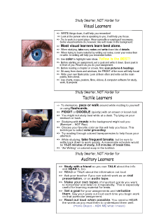 Learning Styles Study Sheet