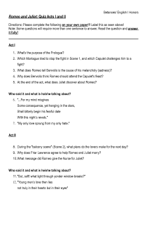 Romeo and Juliet Quiz Acts I and II