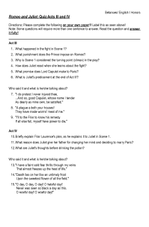 Romeo and Juliet Quiz Acts III and IV