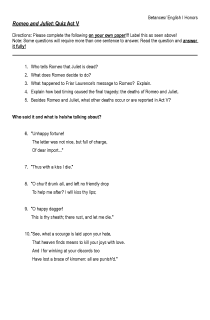 Romeo and Juliet Quiz Act V