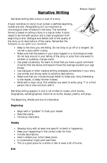 Handout for Narrative Writing