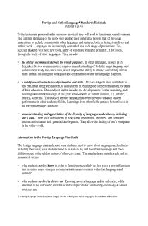 Arizona State Standards- Foreign and Native Language