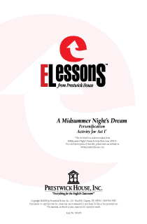 Midsummer Night's Dream, A - Personification - Activity for Act I
