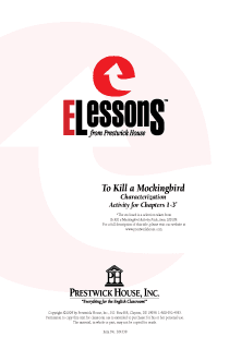 To Kill a Mockingbird - Characterization - Activity for Chapters 1-3