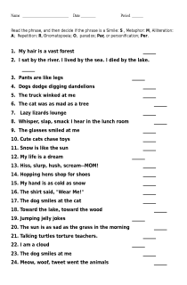 Worksheet or Test on Literary Terms