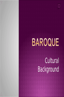 Baroque Cultural Background
