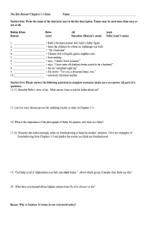 Kite Runner, Chapters 1-3 Quiz