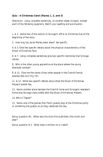 Quiz:  A Christmas Carol  Staves 1, 2, & 3