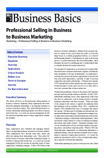 Professional Selling in Business to Business Marketing