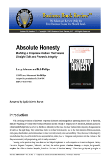 Absolute Honesty - Book Summary