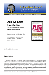 Achieve Sales Excellence - Book Summary
