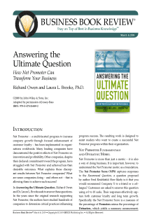 Answering the Ultimate Question - Book Summary