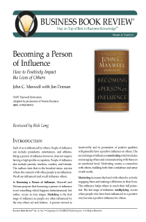 Becoming a Person of Influence - Book Summary