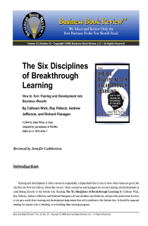 The Six Disciplines of Breakthrough Learning - Book Summary