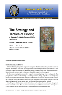 The Strategy and Tactics of Pricing - Book Summary