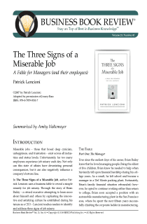 The Three Signs of a Miserable Job - Book Summary