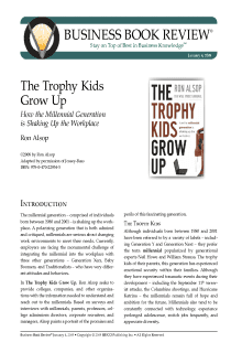The Trophy Kids Grow Up - Book Summary
