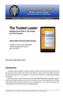The Trusted Leader - Book Summary
