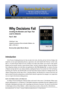 Why Decisions Fail - Book Summary