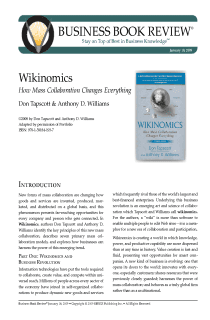 Wikinomics - Book Summary
