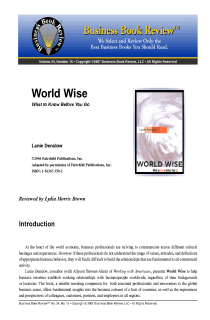 World Wise - Book Summary