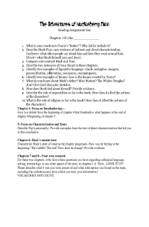 Huck Finn Guided Reading Chap 1-8