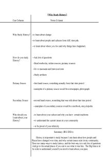 Why Study History? Cornell Notes Set-Up (Teacher Copy)