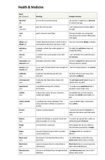 Health & Medicine Vocabulary