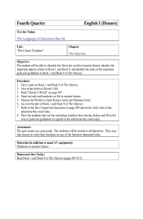 The Odyssey Lesson Plan 2 (9th Grade Day 60)