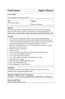 Romeo and Juliet Lesson Plan 1 (9th Grade Day 65)