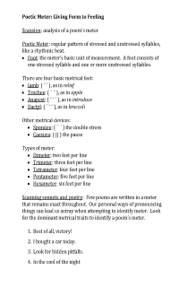 Sonnets - Meter and Feet (handout and activity)