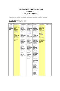Idaho State Standards - Language (5th Grade)