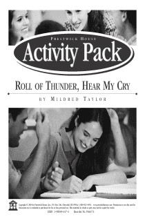 Roll of Thunder, Hear My Cry Activity Pack