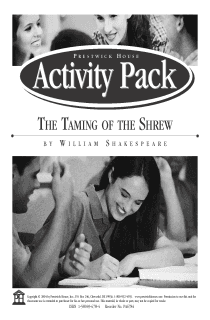 The Taming of the Shrew Activity Pack
