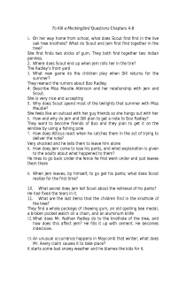 To Kill a Mockingbird Ch. 4-8 Questions and Answers