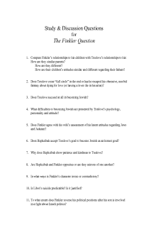 Study and Discussion Questions for THE FINKLER QUESTION