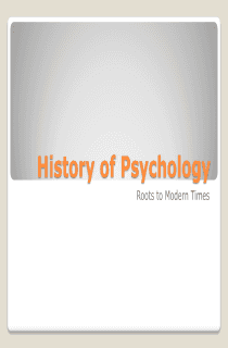powerpoint on history of psychology