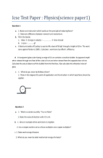 Icse physics test paper.