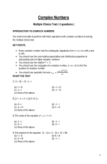 Multiple Choice test on complex numbers